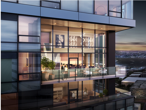 INSPIRED SPACES: NEXUS condominiums will be comprised of efficient homes priced from the low $300,000s to expansive two-story Sky Lofts as illustrated above worth millions. Rendering by Weber Thompson.