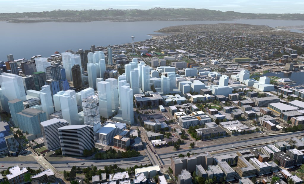 EAST VILLAGE RISING: An aerial study of the burgeoning developments that will rise in the northeastern corner of downtown Seattle is landmarked by NEXUS – for now the only confirmed condominium offering amidst a sea of permitted apartment, hotel and office projects.