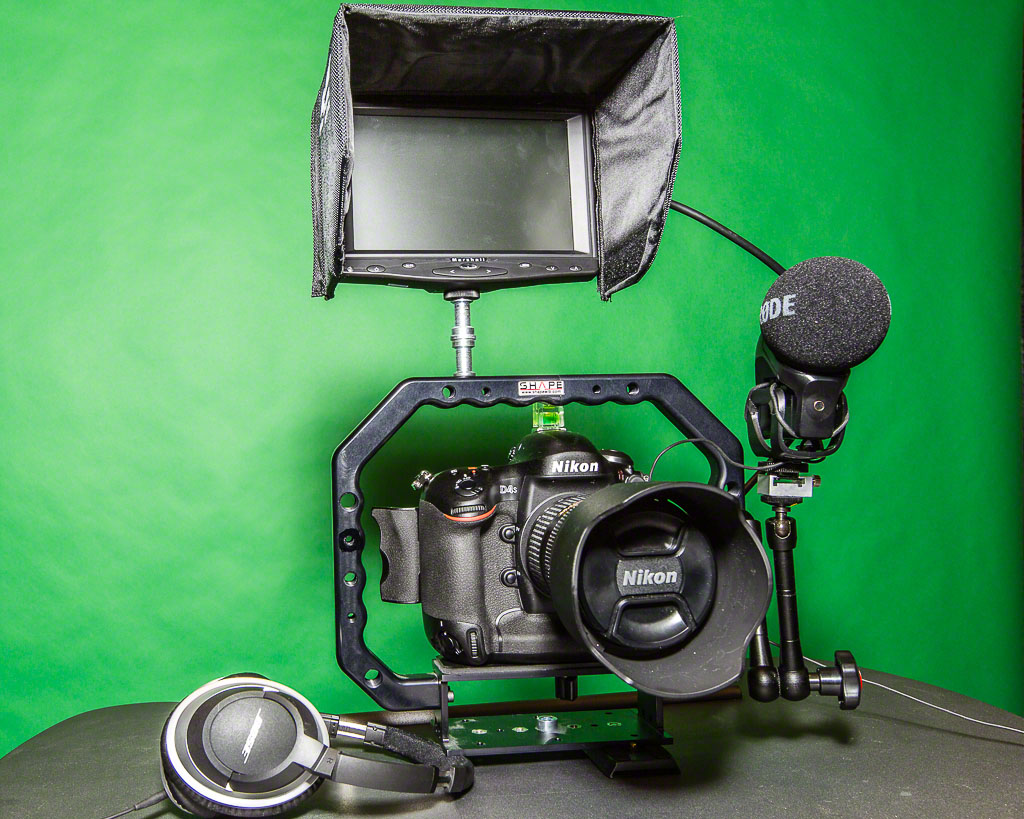 The D4s kitted out for one-up video shooting where the videographer is also the alleged talent
