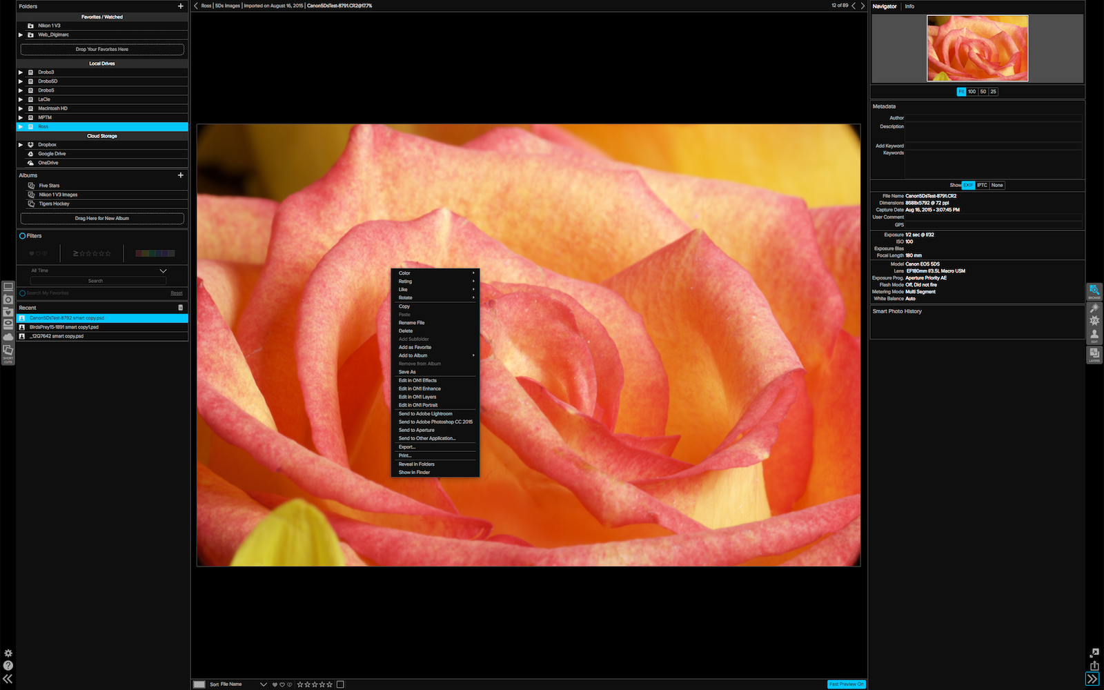 A right click exposes the contextual menu that sends and exports images