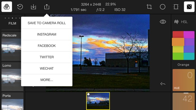Exporting images from Polarr on your smart device