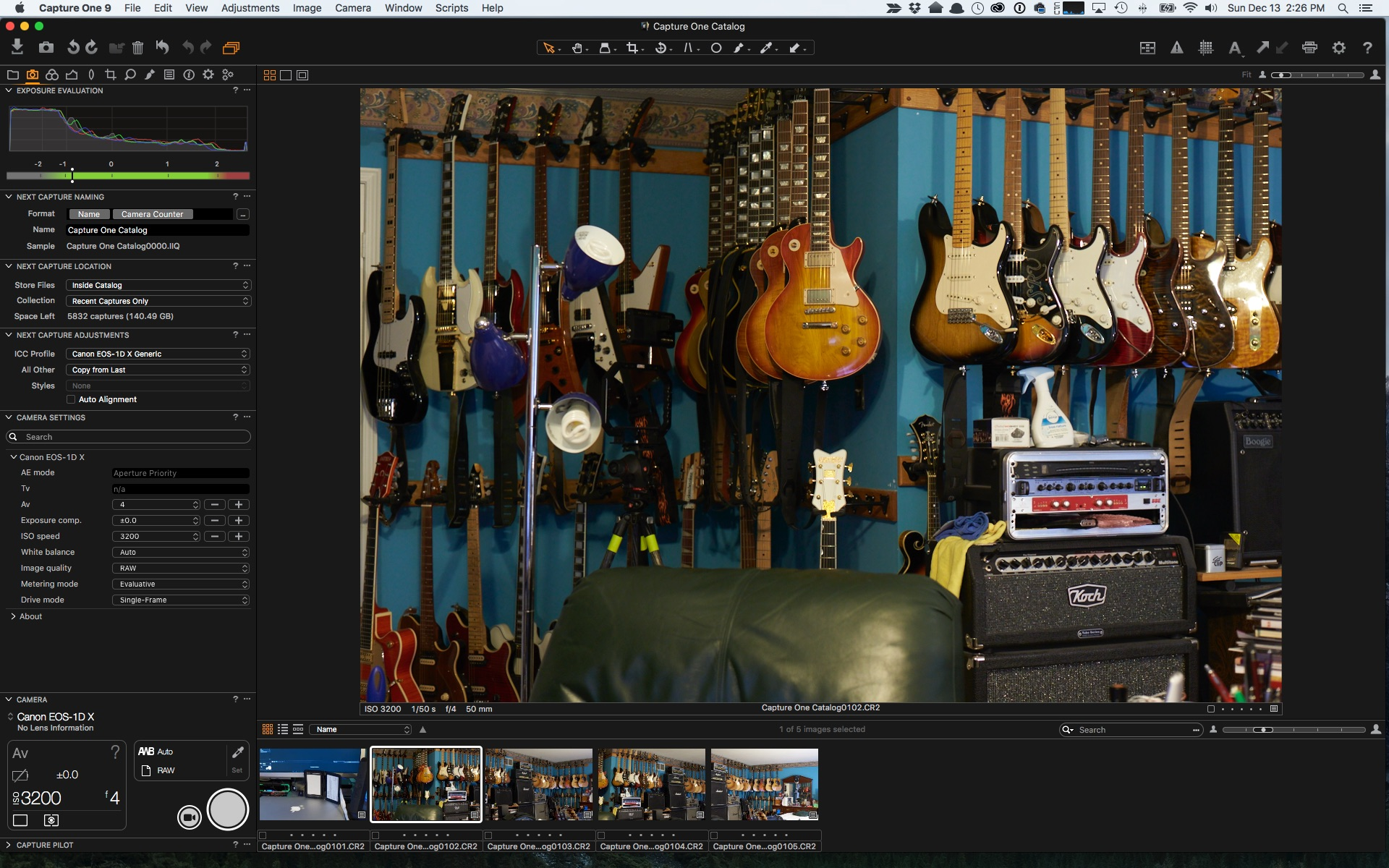 Quick screen capture from Capture One Pro 9 with the 1Dx tethered directly using a TetherTools cable
