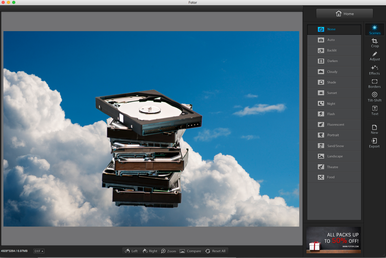 You can see a wide range of editing tools in the toolbar on the right, along with multiple presets