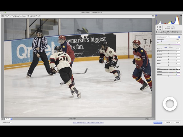 Screen capture from iPad 3 using Astropad to operate Adobe Camera RAW
