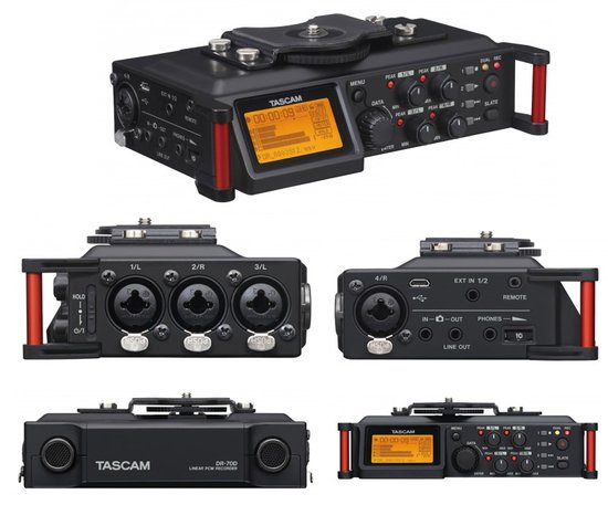 Four way looks at the DR-70D. 3 XLR inputs on one side, 1 more on the opposite side. Back panel contains the built-in mics and the battery bay.