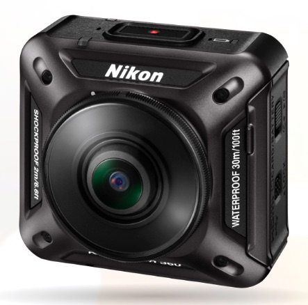Front view of the Nikon KeyMission 360. Or maybe it's the back, they look the same.