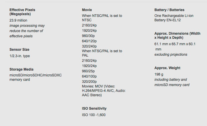 KeyMission 360 Specifications