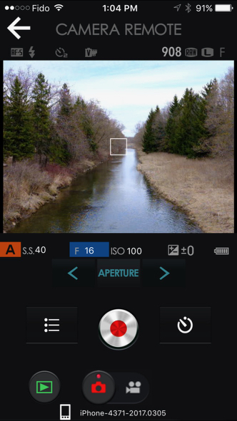 Screenshot from my iPhone of the Fujifilm Remote App. You have substantial camera control, but the UI is not completely intuitive