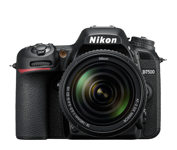 Nikon D7500 shown with available 18-140/3.5-5.6 VR lens