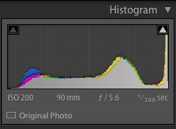 ETTR histogram before post processing