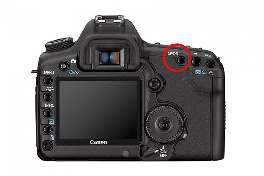 On Canon cameras, button labeled AF-ON can be set to be back button focus