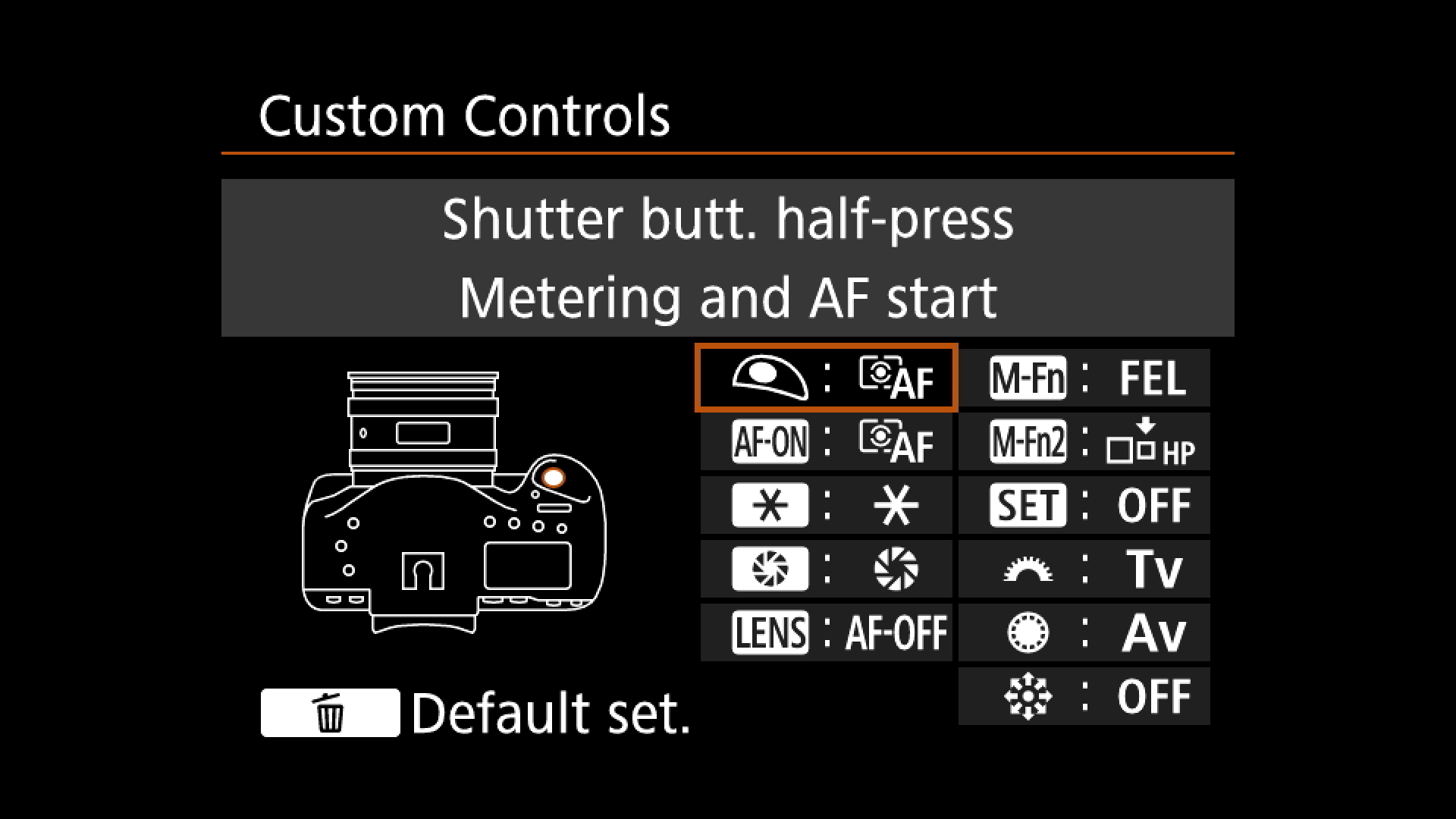 Step Two : find the setting for the shutter release