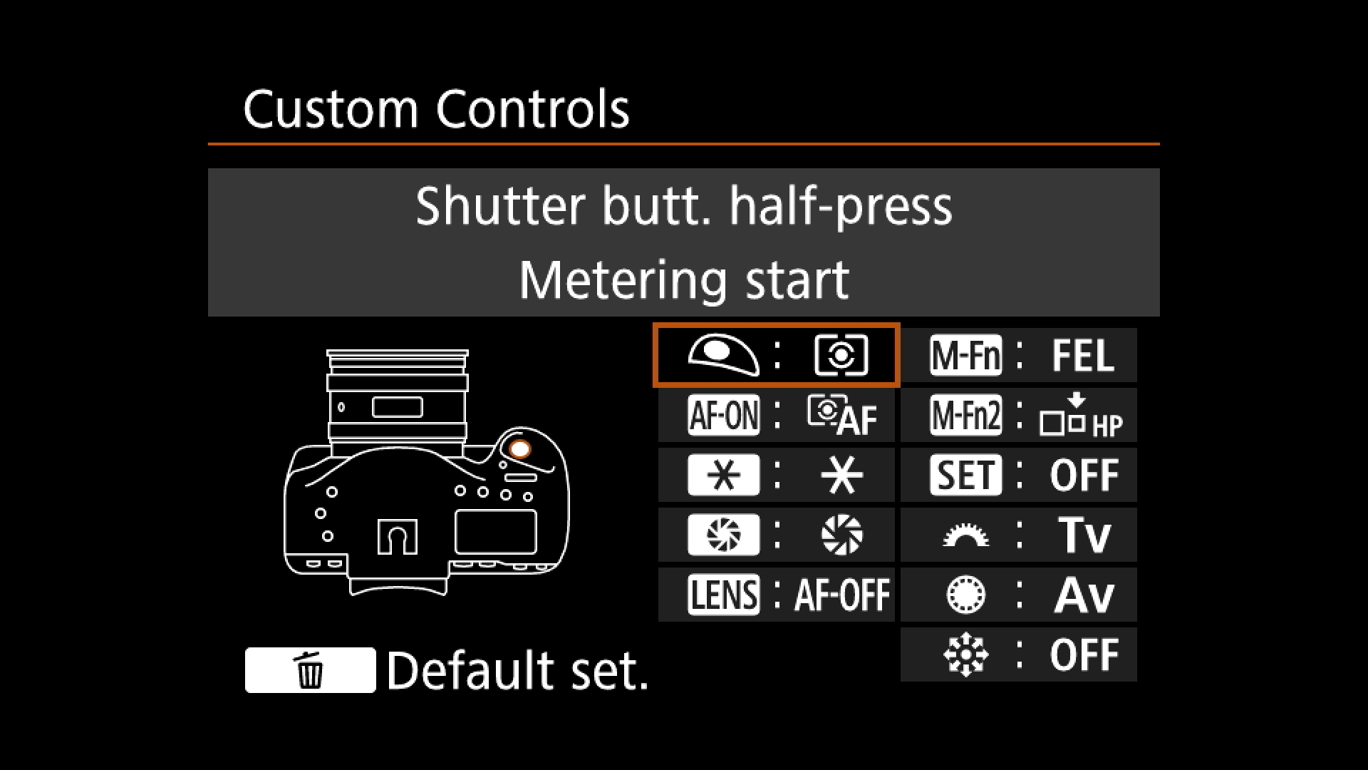 Step Five : You have now isolated AF Start to the AF-ON button and removed it from the shutter release.