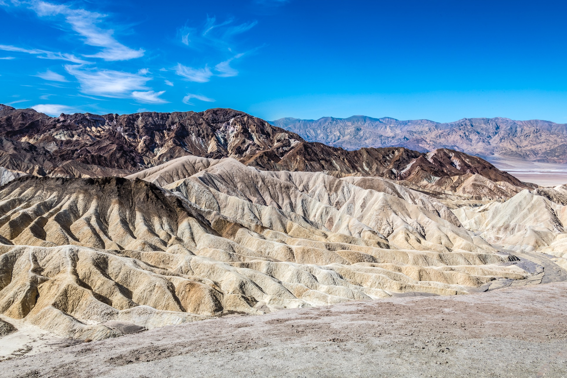 Zabriskie Point. HDR image from three starting images, 2 stops apart. Processed in Adobe Lightroom