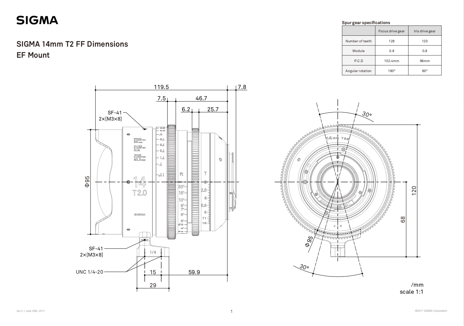 Dimensional drawing for the prime that I shot with the most, the 14mm T2 FF. Note that both the focus and iris rings have pitched teeth for remote controllability with manual or automated gearing systems.
