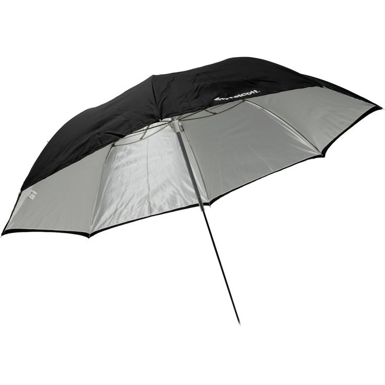 """This 43"""" umbrella from Westcott is under $50 and has a removable backing so you can use it as a shoot through. The white is backed with silver inside the cover, hence why it does not look white in the illustration"""