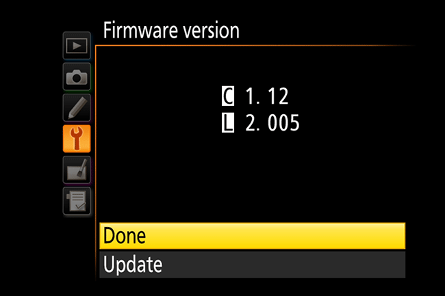Here's what a body and lens firmware update looks like when complete on a Nikon.