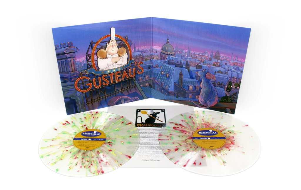 """Ratatouille"" Original Motion Picture Sountrack 2XLP. In partnership between Mondo and Walt Disney Records. Artwork by Nicole Gustafsson. Image via Mondo."