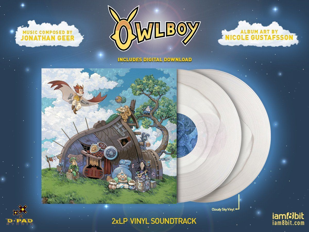"""Owlboy"" Original Vinyl Soundtrack 2XLP. In partnership between iam8bit and D-Pad Studios. Outside cover artwork by Nicole Gustafsson. Image via iam8bit."