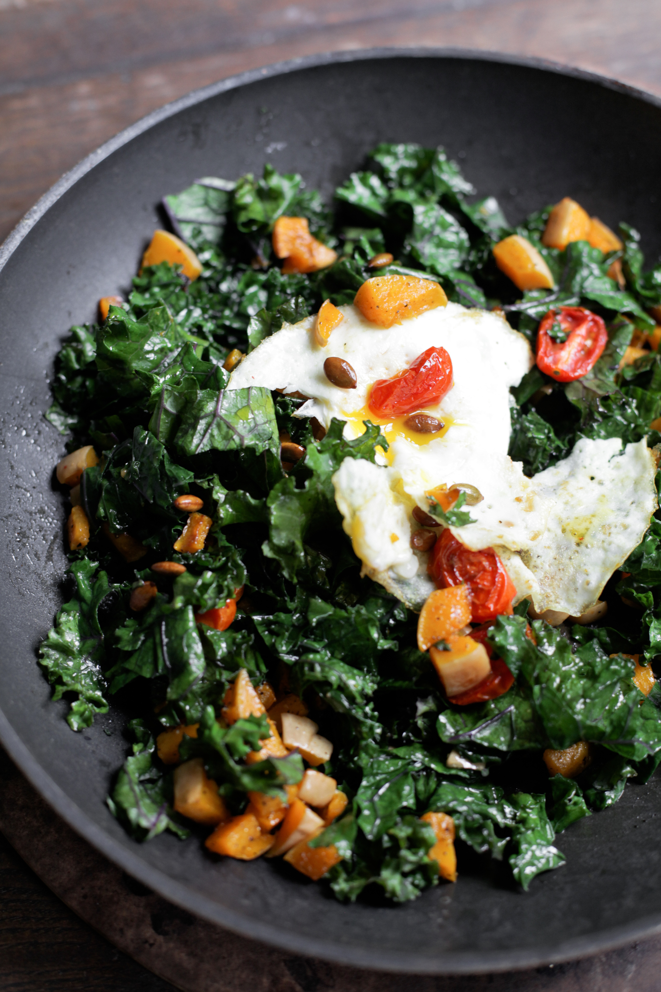 Warm Butternut Squash Kale Salad