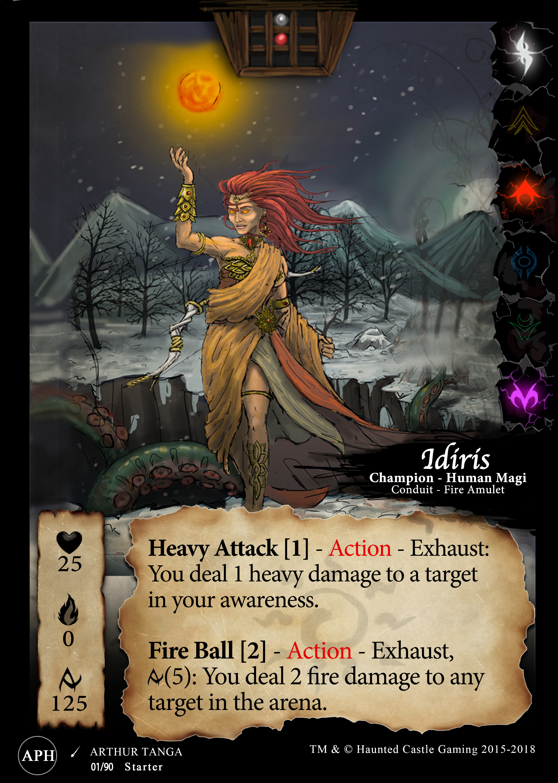 No, it does not... - She can target any one thing within the whole arena with her Fire Ball [2] ability.