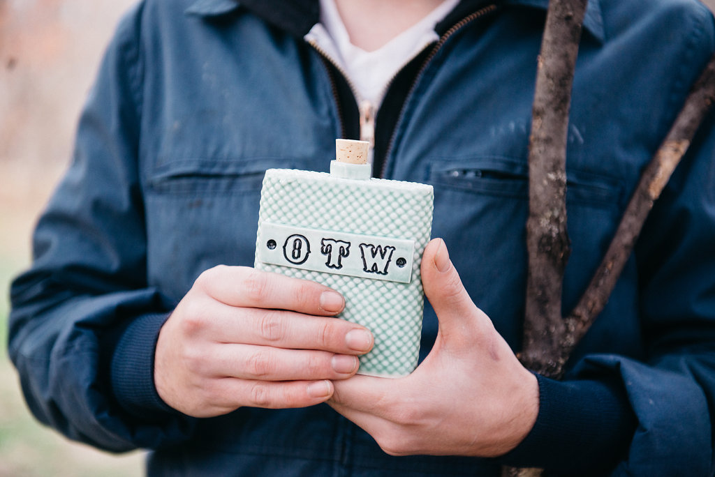 Handmade On the Water flask by Wrong World Ceramics
