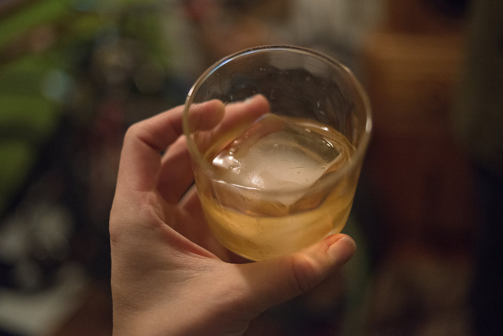 Fletcher is also a whiskey connoisseur and has classy large square ice cubes on hand.