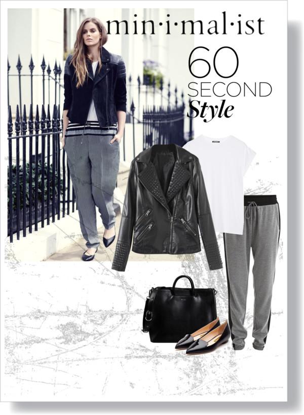 Jacket: 65 CAD    BLACKFIVE.COM   Sweat pants: 40 CAD    VILA.COM   White shirt: 280 CAD    NET-A-PORTER  .COM   Purse: 240 CAD    YOOX.COM   Shoes: 985 CAD    RUPERTSANDERSON  .COM