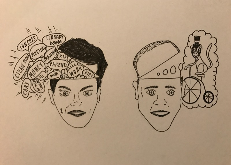 It's me and Paul, obviously, expertly doodled by Sproston Green. Good, innit?