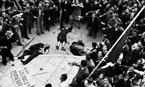 The bodies of unarmed protestors shot by the police and the British army in Athens on 3 December 1944. Photograph: Dmitri Kessel/Time & Life Pictures/Getty Images