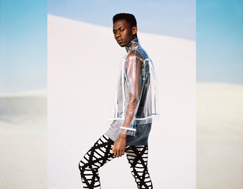 Gandhi wears vest and PVC biker, both Stiaan Louw; Knit trousers, Maxhosa by Laduma