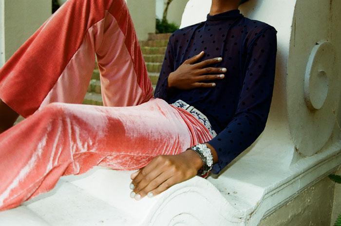 Sarah Hugo-Hamman top, trousers and shoes, Shushy Hugo-Hamman bracelet, stylist's own belt