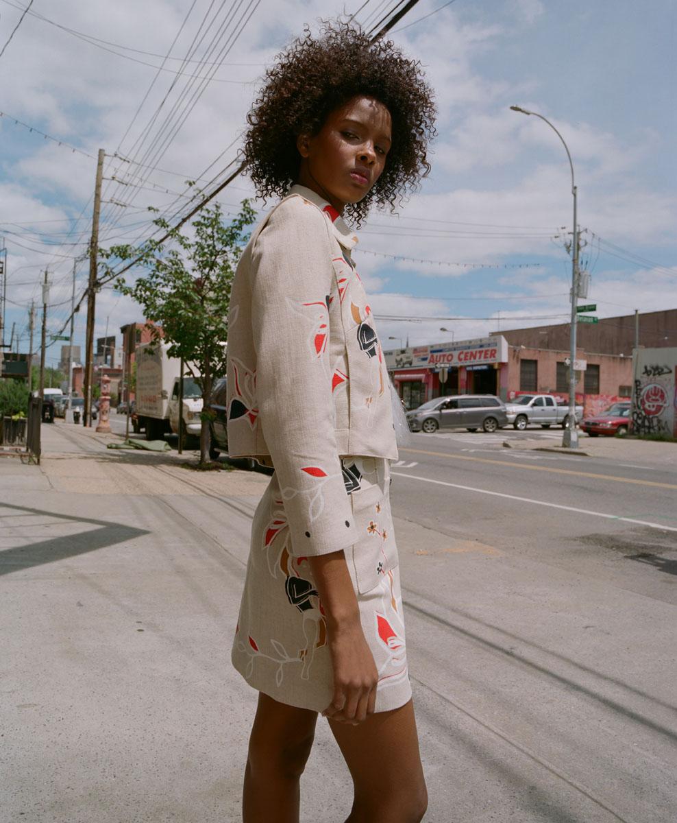 Edun jacket and skirt, Maki Oh camisole