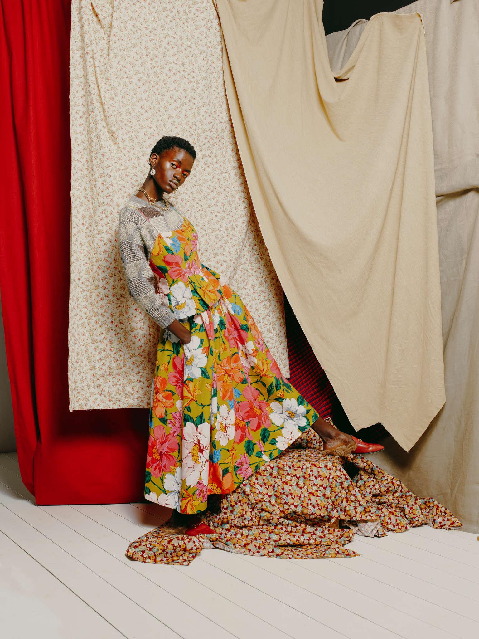 Rock It Vintage jumper, Mara Hoffmann dress, Rejina Pyo earrings, Gucci shoes