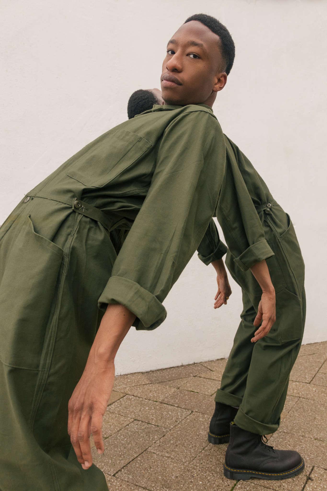 Dijon and Devontay wear Atika London jumpsuits, Dr. Martens boots, Northskull jewellery