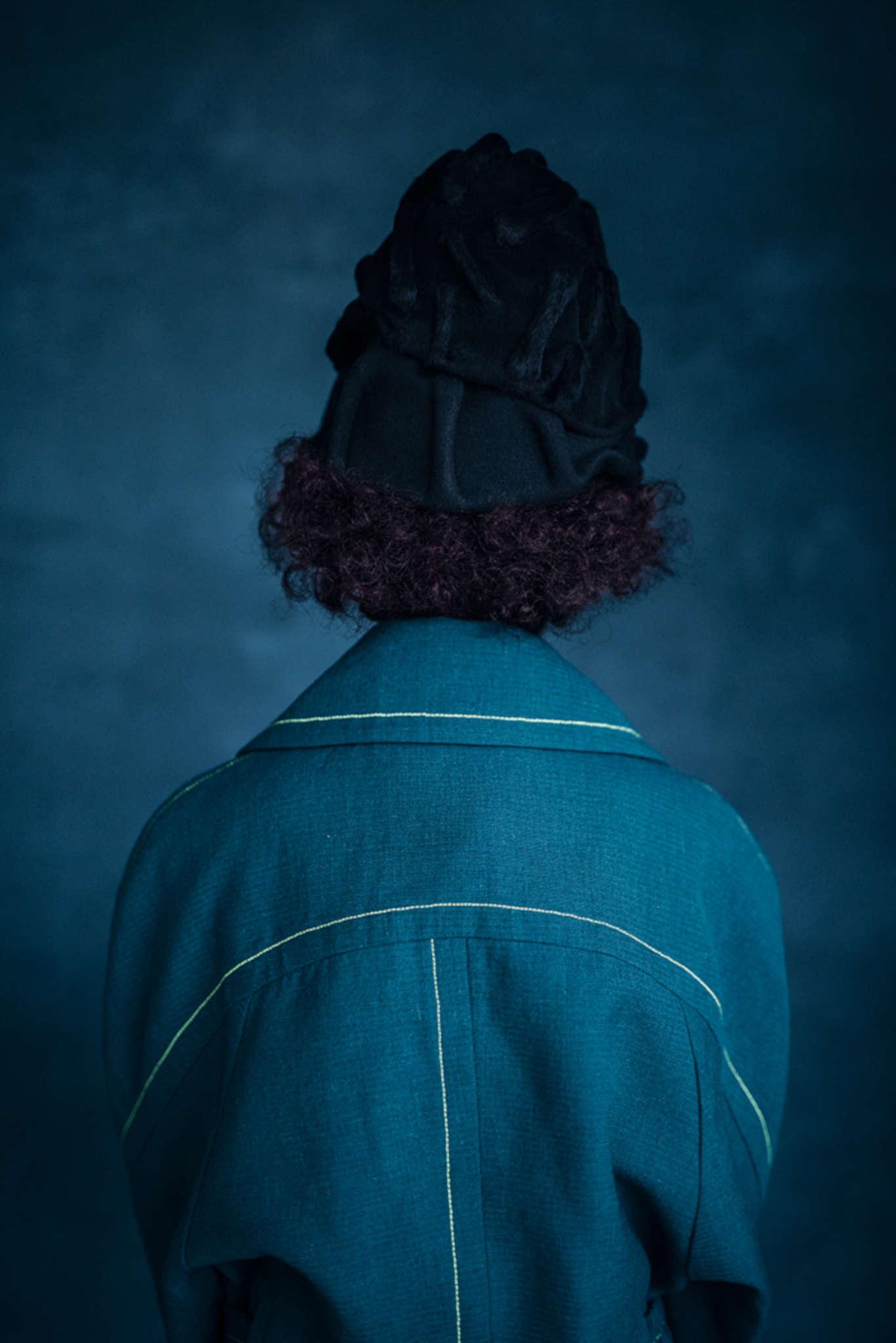 Pronounce coat, Jo Miller headpiece, Gareth Pugh trousers