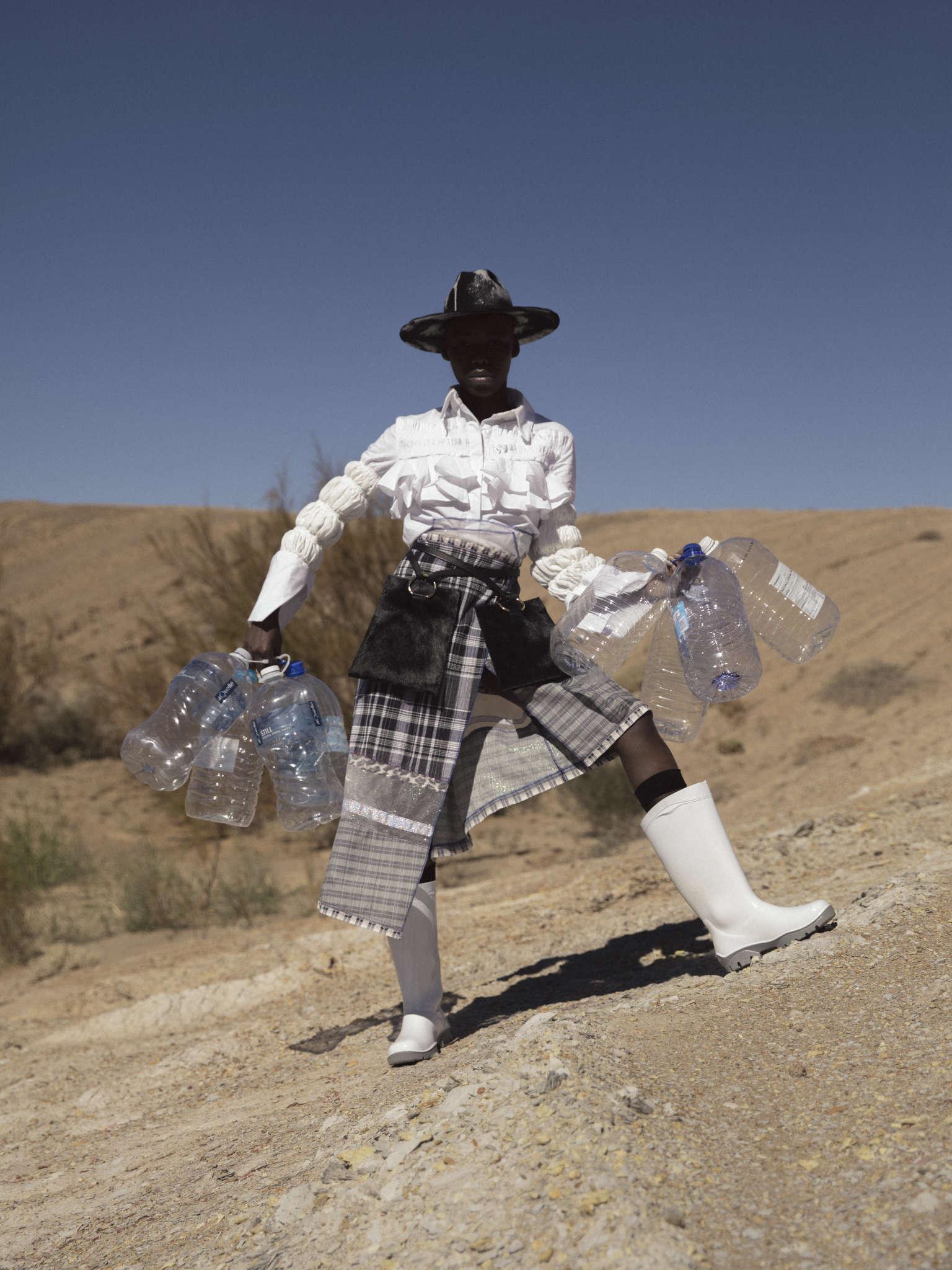 Crystal Birch hat, Fikile Sokholu shirt, Marianne Fassler skirt, Thalia Strates bags