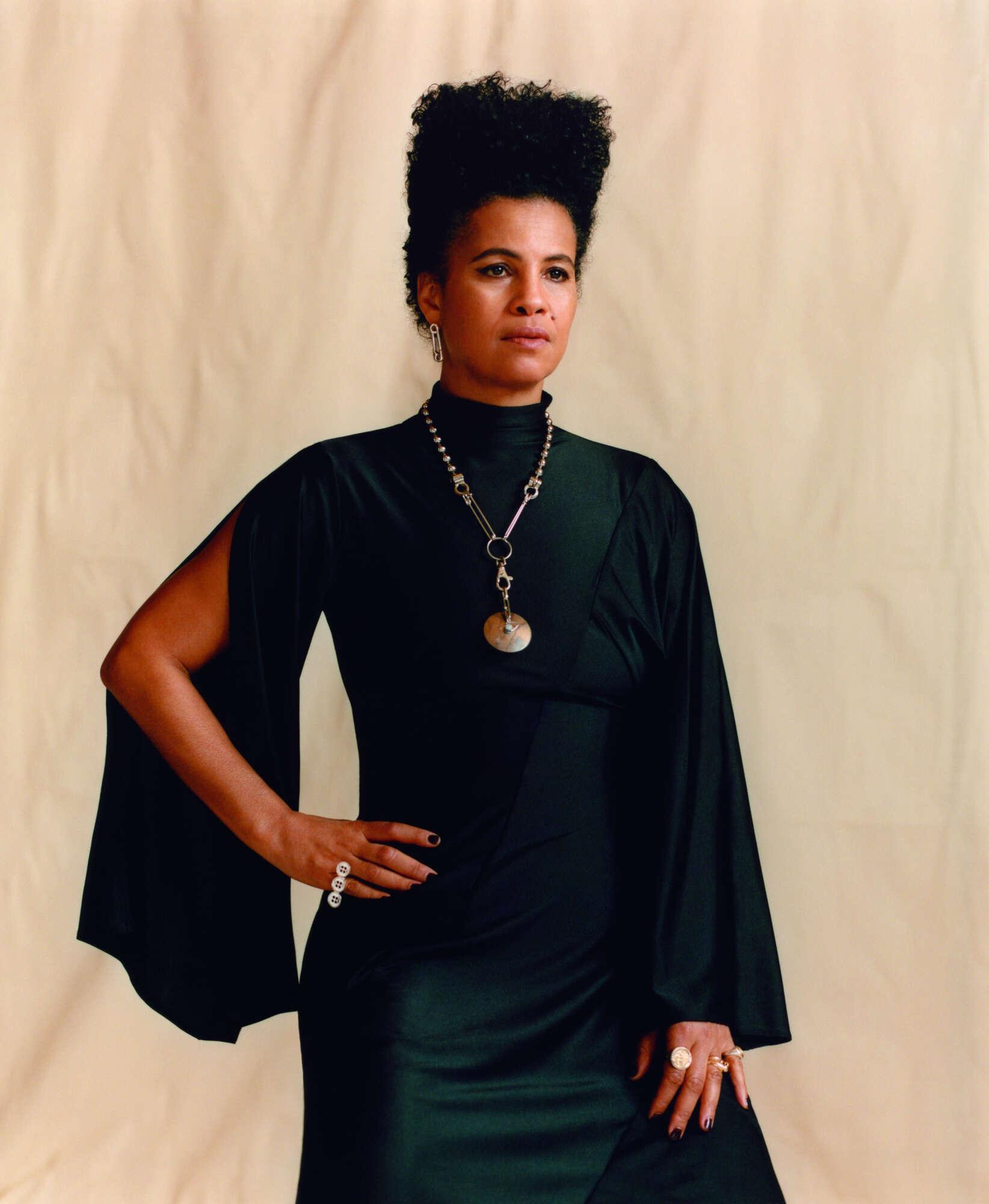 NENEH wears AMBUSH dress from MACHINE-A, JUDY BLAME necklace.