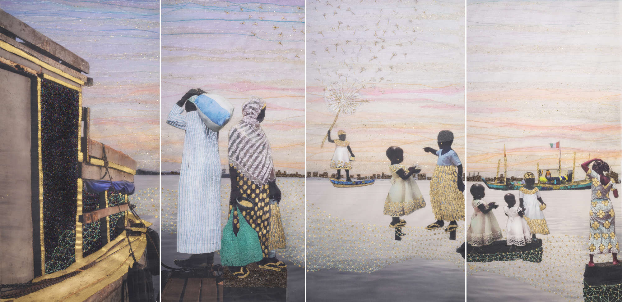 Joana Choumali, SOMETIMES I WONDER IF THEY CAN HEAR IT AS WELL (2019). Series ALBAHIAN, 2x1m. Image copyright the artist and courtesy Gallery 1957, Accra