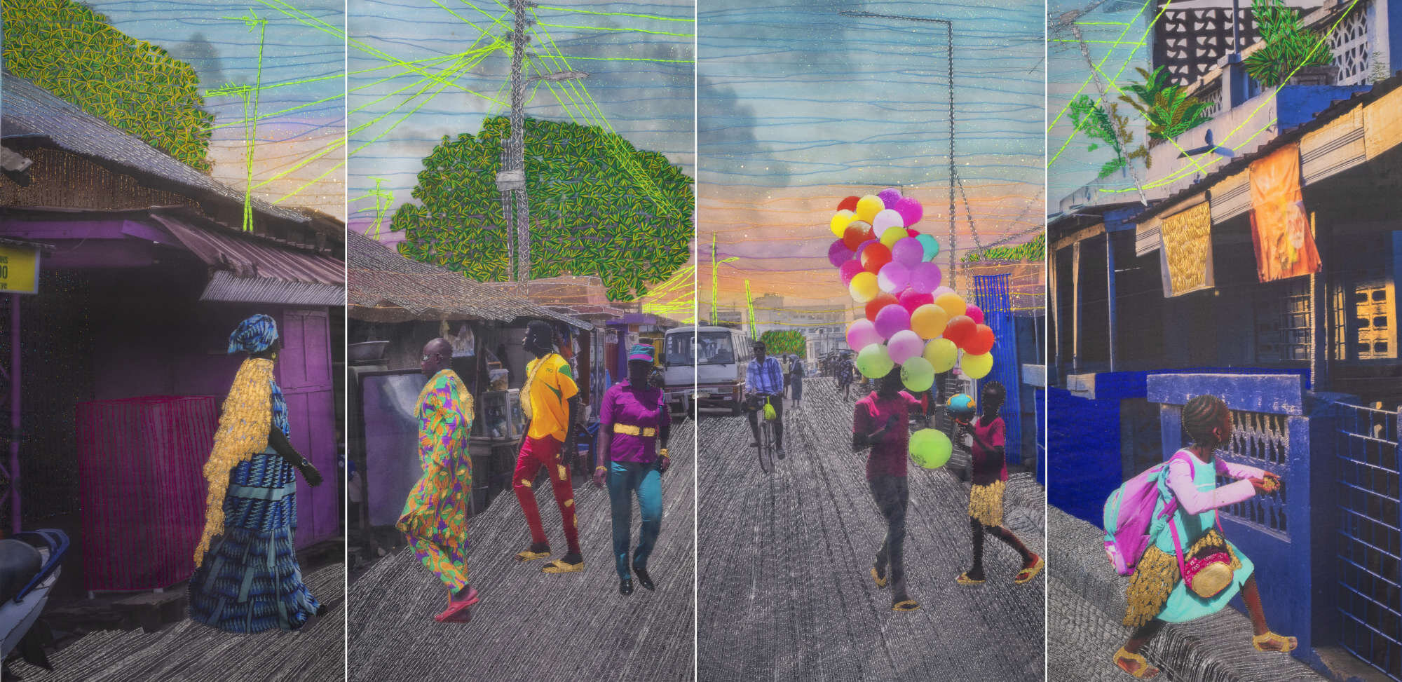 Joana Choumali, RELATING TO IMAGINARY THINGS (2019). Series ALBAHIAN, 2x1m. Image copyright the artist and courtesy Gallery 1957, Accra