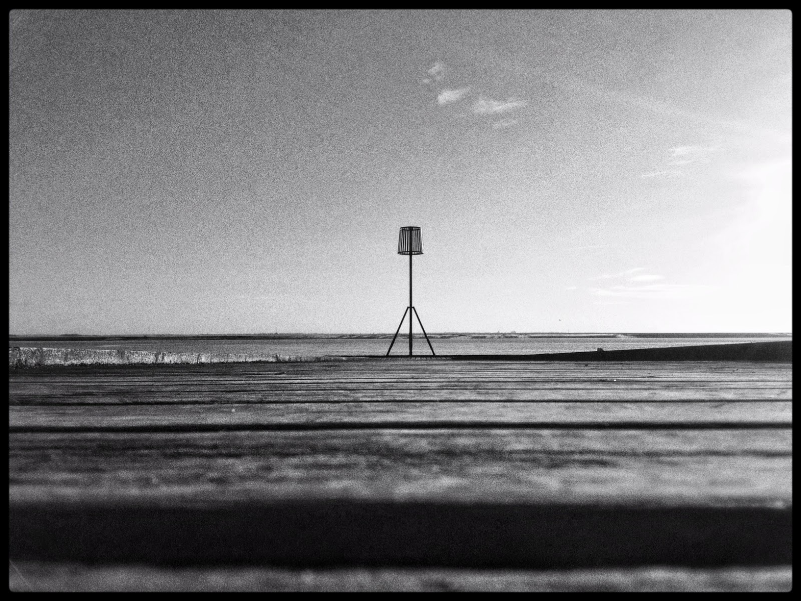 Lytham life boat jetty pier esturay beach sea sand black and white