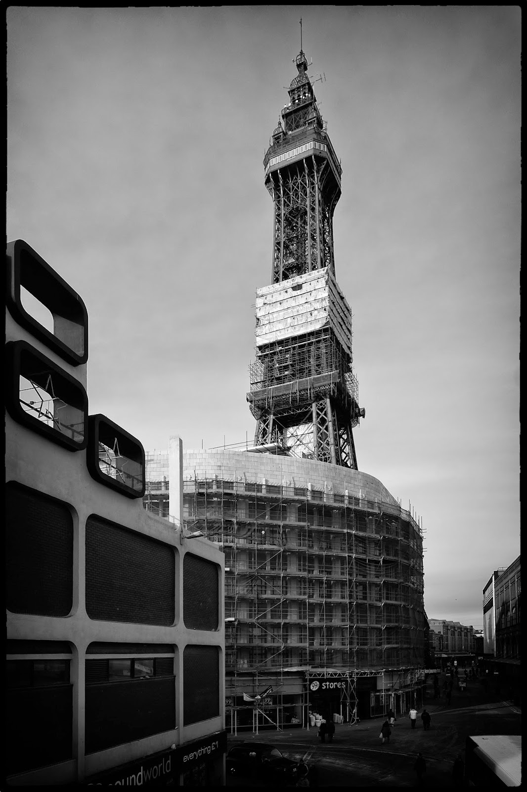 Blackpool tower lancashire black and white art photo scaffolding renovation fuji x-t1 art deco squares lights sandblasting