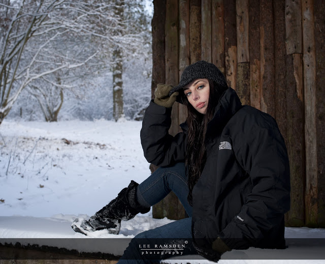 The North Face sponsored Kelly Moss Ramsden snow outdoor flash light Ashridge Berkhamsted Hertfordshire
