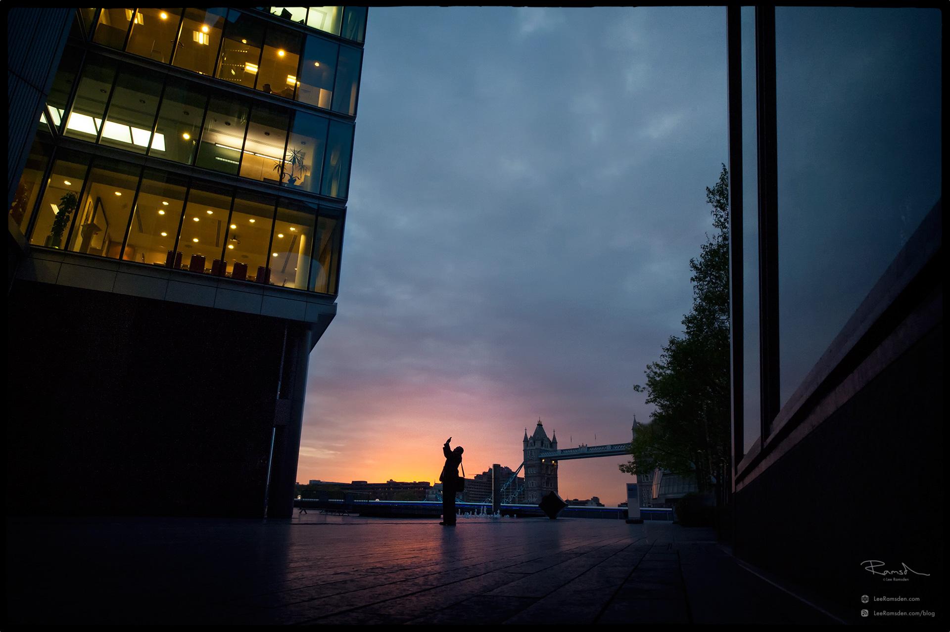 "<img src=""unknown photographer.jpg"" alt=""unrise sunset london city moreLondon tower Bridge office building reflection clouds Lee Ramsden"">"
