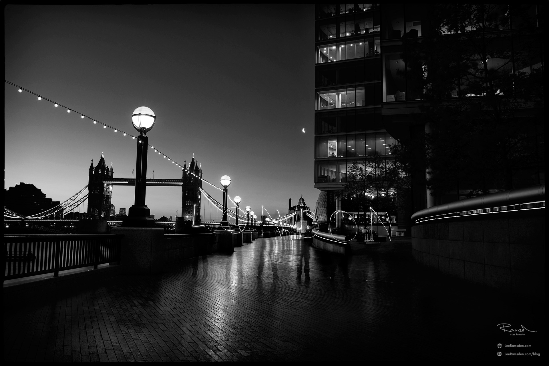 "<img src=""London.jpg"" alt=""BW monochrome black and white long exposure writing with iPhone torch Lee Ramsden moreLondon tower bridge river Thames"">"