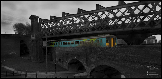 Selective colour train manchester castle field arch ways railway bridge