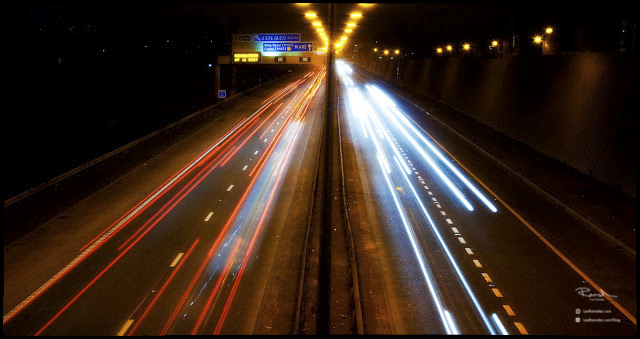 Long exposure light trails M602 Greater Manchester Odsall break head