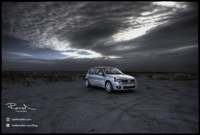 """<img src=""""Renault Clio sport"""" alt=""""Justin Napier HDR mad sky beach over done cooked silver fake unrealistic look old style lee ramsden"""">"""