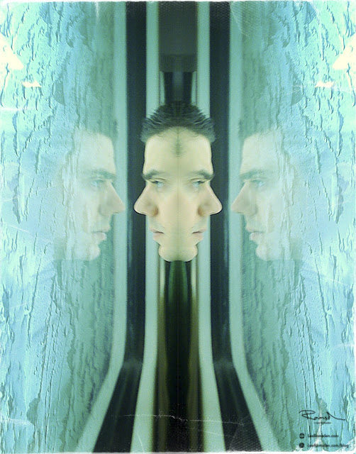Lee Ramsden on a train mirror image