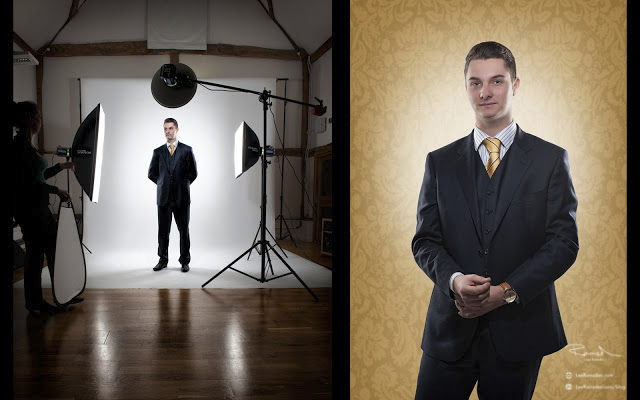 Composite image Oliver Neville in the studio
